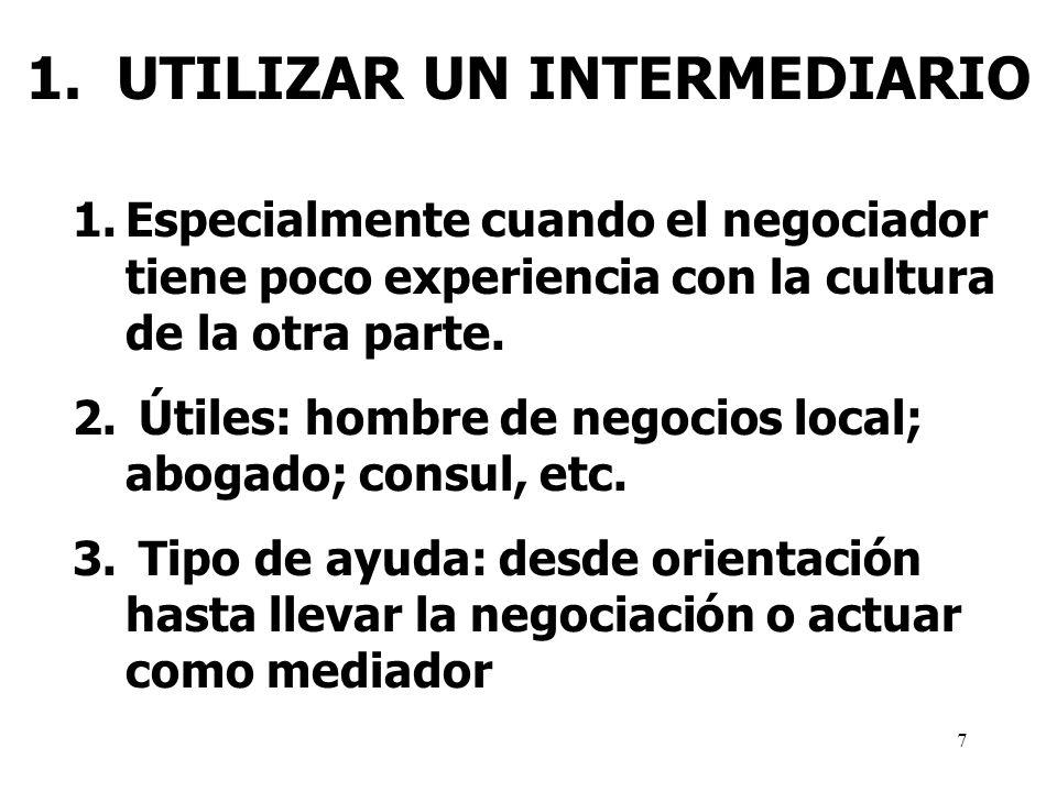 1. UTILIZAR UN INTERMEDIARIO