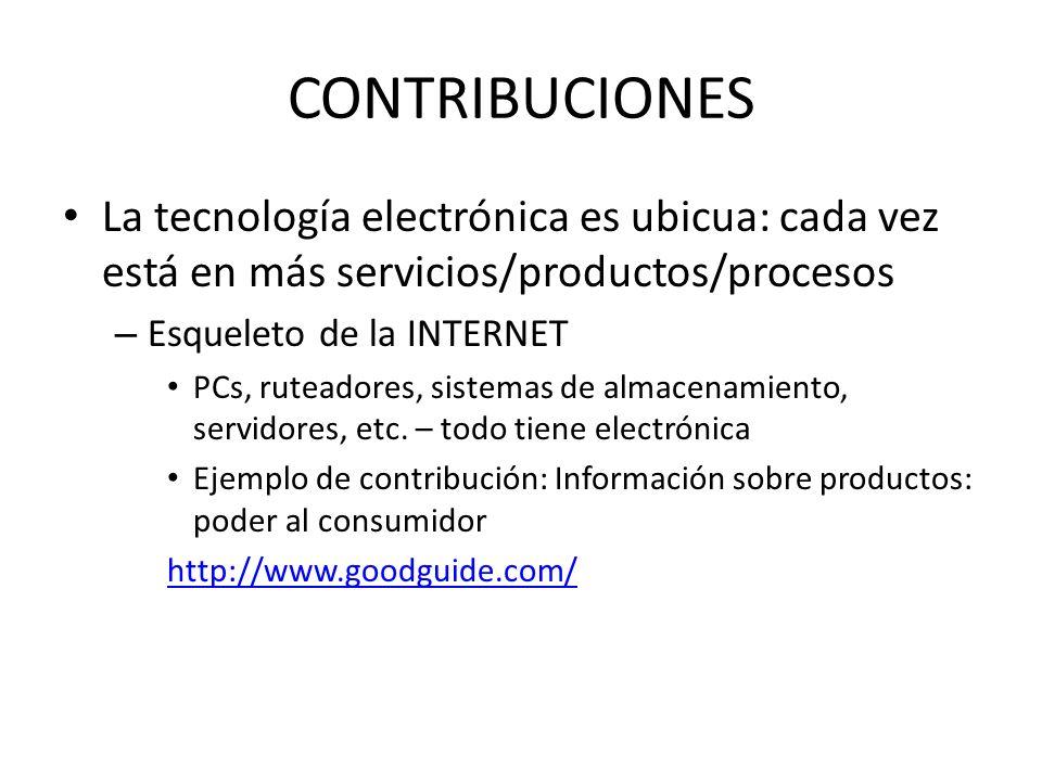 CONTRIBUCIONES La tecnología electrónica es ubicua: cada vez está en más servicios/productos/procesos.