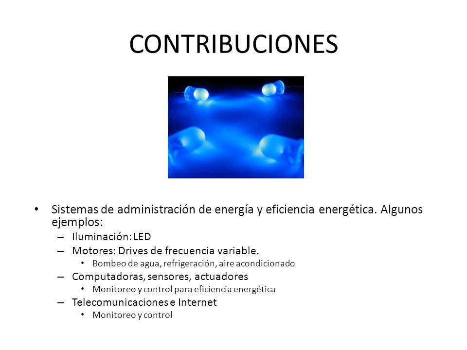 CONTRIBUCIONES Sistemas de administración de energía y eficiencia energética. Algunos ejemplos: Iluminación: LED.