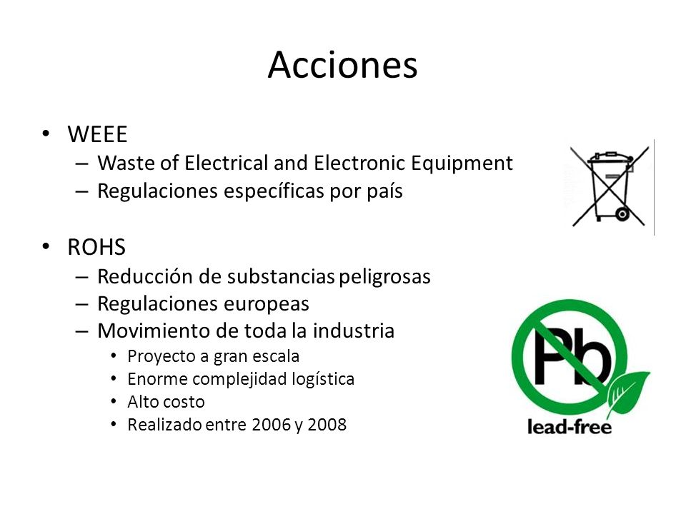 Acciones WEEE ROHS Waste of Electrical and Electronic Equipment