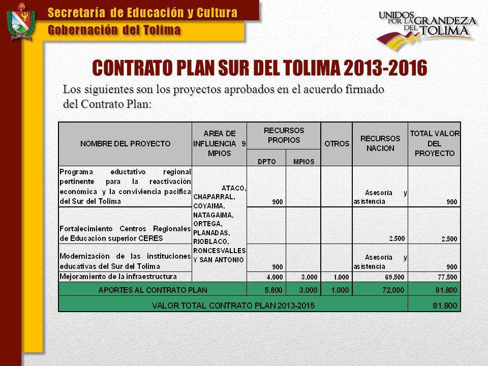 CONTRATO PLAN SUR DEL TOLIMA 2013-2016