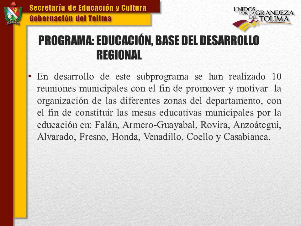 PROGRAMA: EDUCACIÓN, BASE DEL DESARROLLO REGIONAL