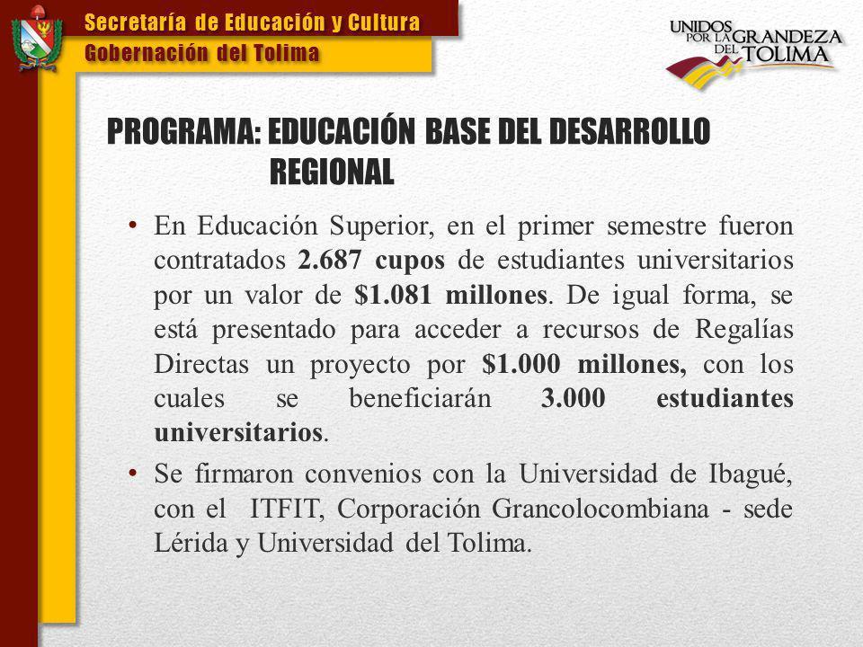 PROGRAMA: EDUCACIÓN BASE DEL DESARROLLO REGIONAL