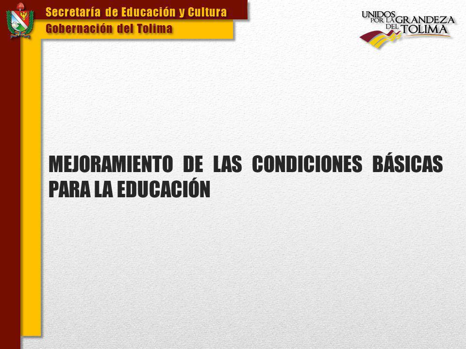 MEJORAMIENTO DE LAS CONDICIONES BÁSICAS PARA LA EDUCACIÓN