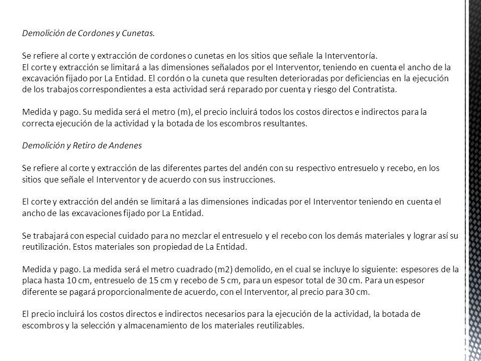 Demolición de Cordones y Cunetas.