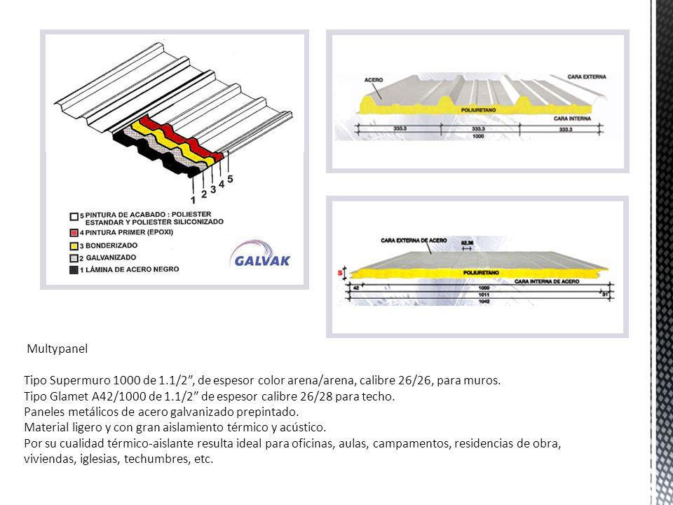 Multypanel Tipo Supermuro 1000 de 1.1/2 , de espesor color arena/arena, calibre 26/26, para muros.
