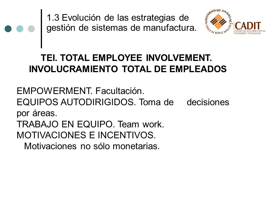 TEI. TOTAL EMPLOYEE INVOLVEMENT. INVOLUCRAMIENTO TOTAL DE EMPLEADOS