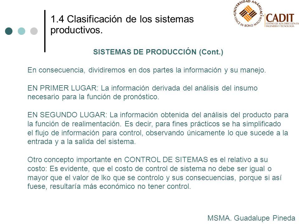 SISTEMAS DE PRODUCCIÓN (Cont.)