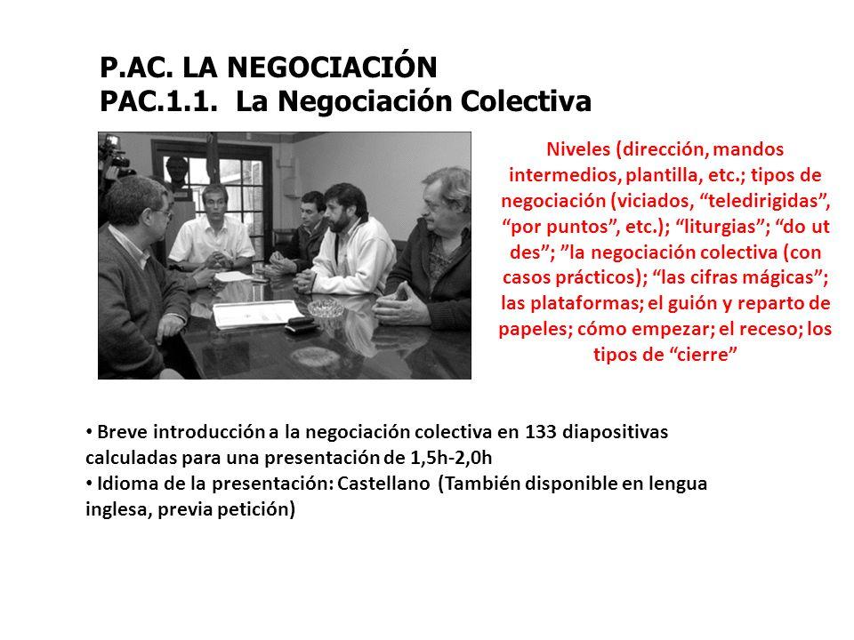 PAC.1.1. La Negociación Colectiva
