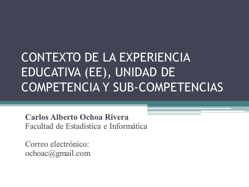 CONTEXTO DE LA EXPERIENCIA EDUCATIVA (EE), UNIDAD DE COMPETENCIA Y SUB-COMPETENCIAS