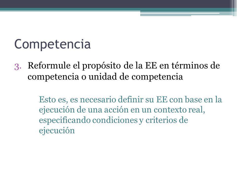 Competencia Reformule el propósito de la EE en términos de competencia o unidad de competencia.