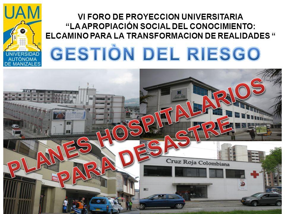 PLANES HOSPITALARIOS PARA DESASTRE
