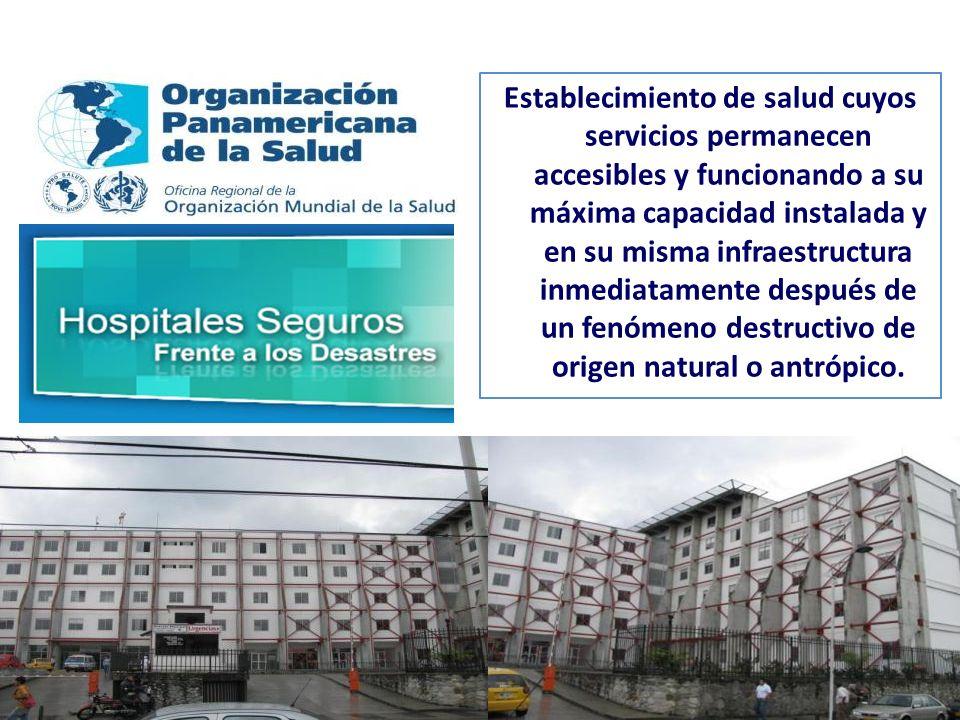 Establecimiento de salud cuyos servicios permanecen accesibles y funcionando a su máxima capacidad instalada y en su misma infraestructura inmediatamente después de un fenómeno destructivo de origen natural o antrópico.