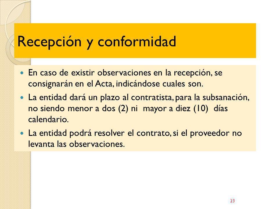 Recepción y conformidad