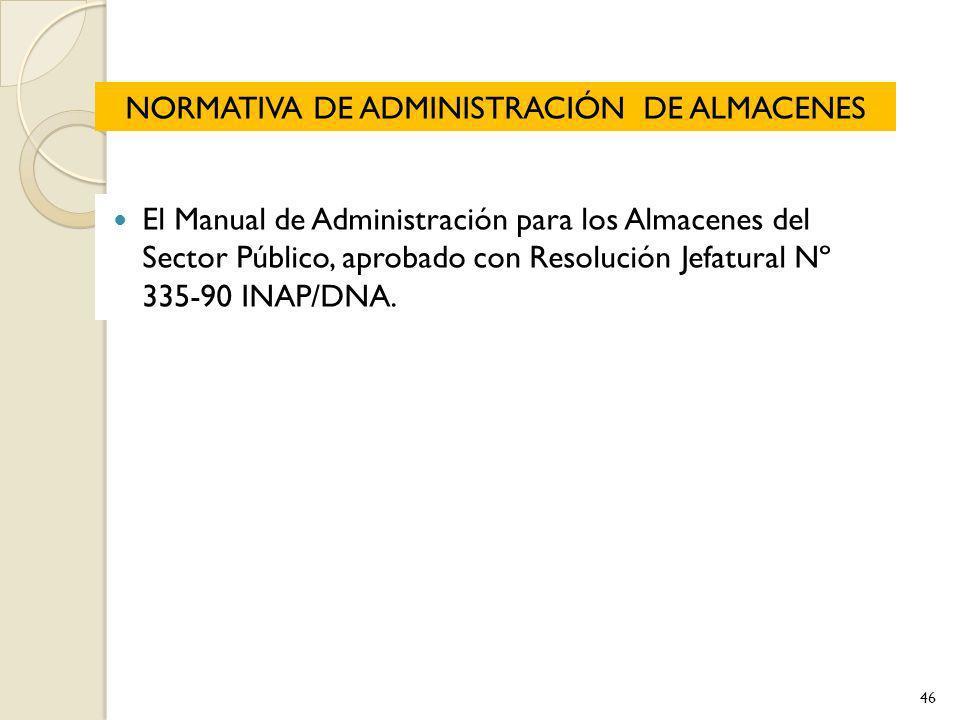 NORMATIVA DE ADMINISTRACIÓN DE ALMACENES