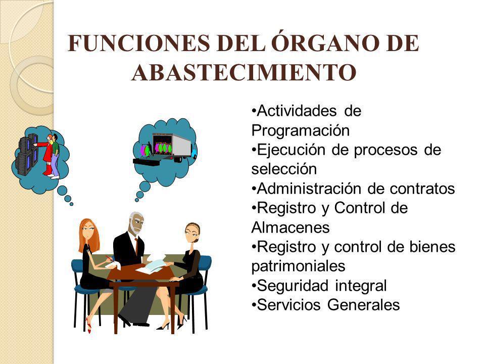 FUNCIONES DEL ÓRGANO DE ABASTECIMIENTO