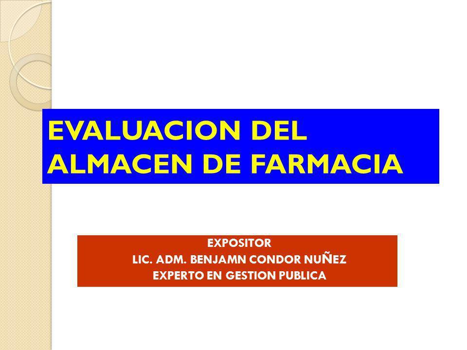 EVALUACION DEL ALMACEN DE FARMACIA