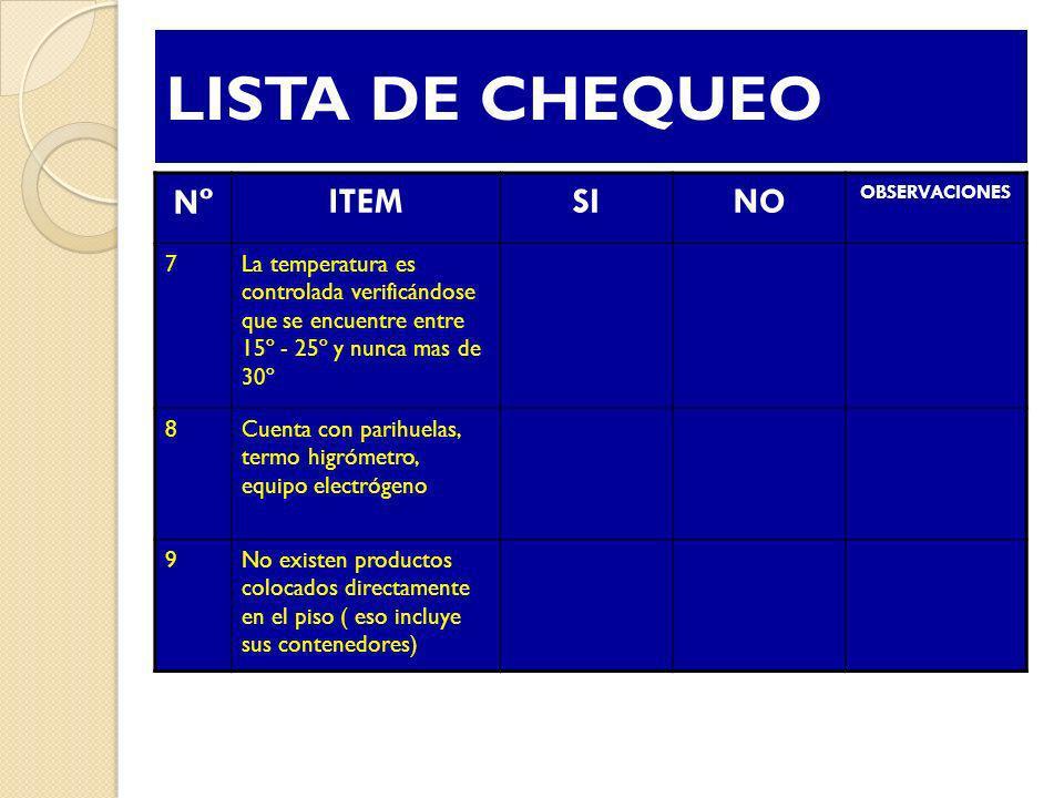 LISTA DE CHEQUEO Nº ITEM SI NO 7