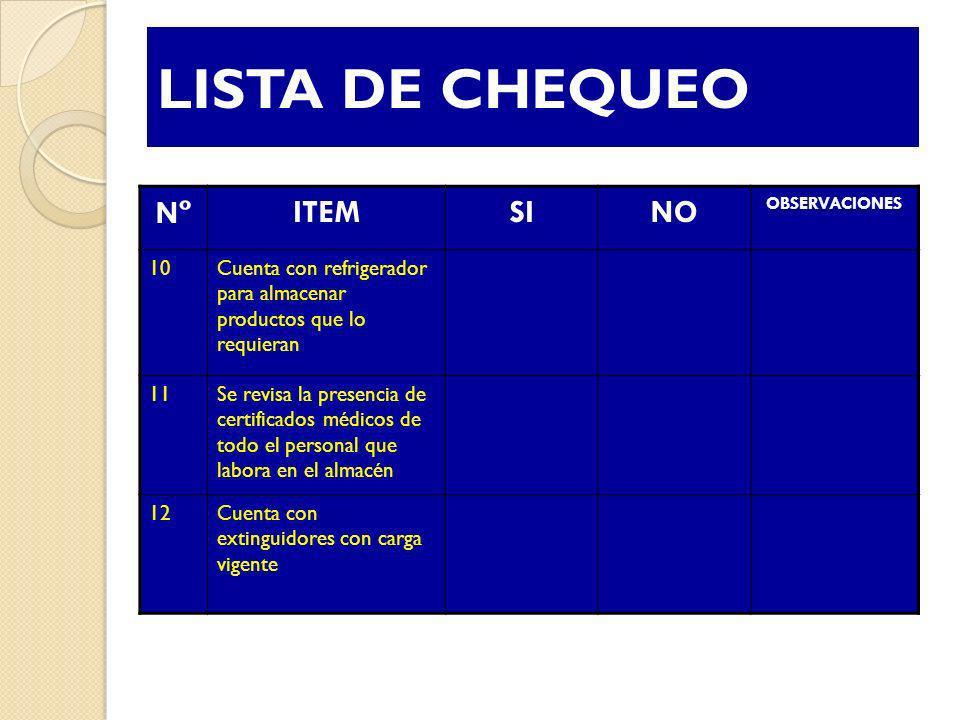 LISTA DE CHEQUEO Nº ITEM SI NO 10