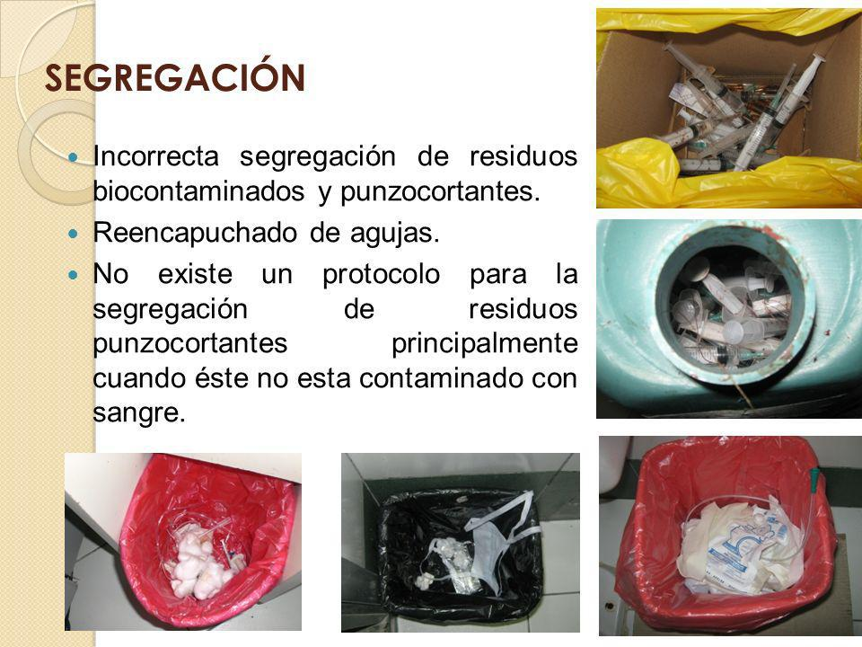 SEGREGACIÓN Incorrecta segregación de residuos biocontaminados y punzocortantes. Reencapuchado de agujas.