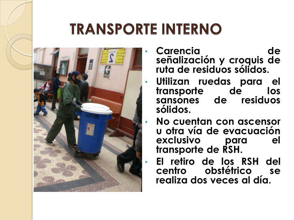 TRANSPORTE INTERNO Carencia de señalización y croquis de ruta de residuos sólidos.