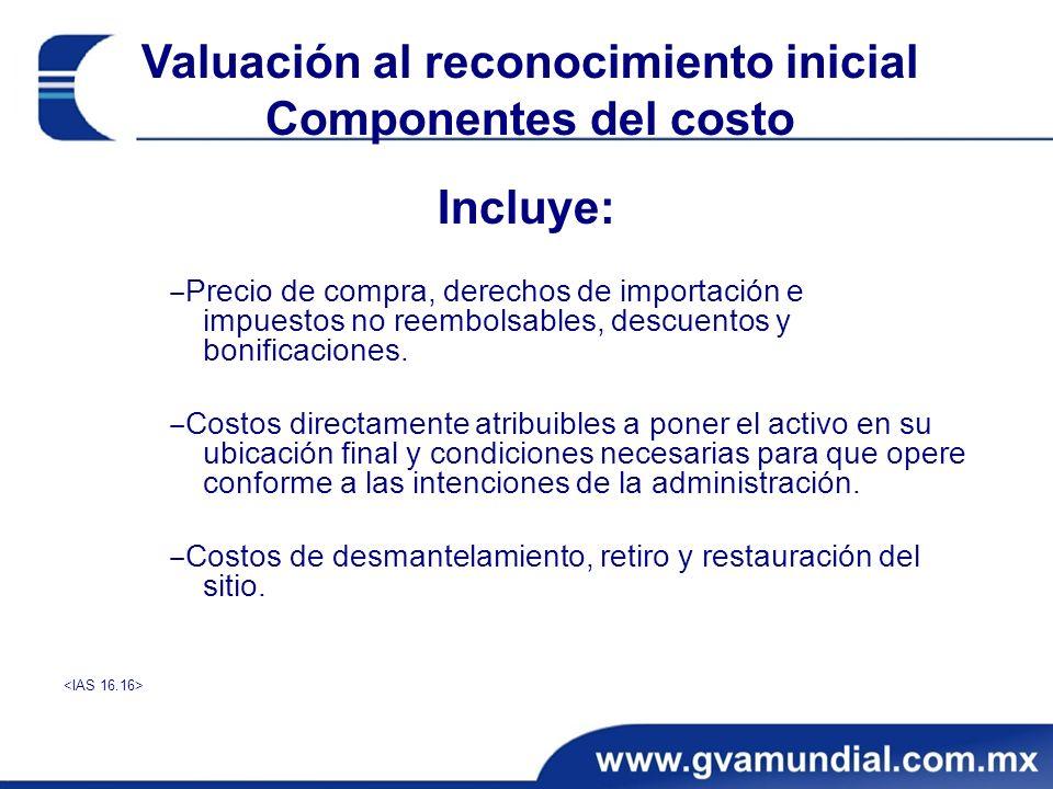 Valuación al reconocimiento inicial Componentes del costo
