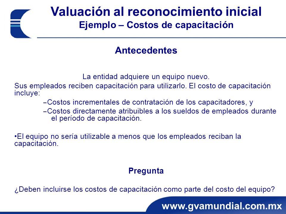Valuación al reconocimiento inicial Ejemplo – Costos de capacitación