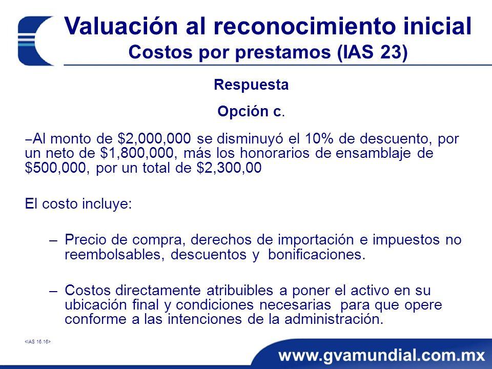 Valuación al reconocimiento inicial Costos por prestamos (IAS 23)