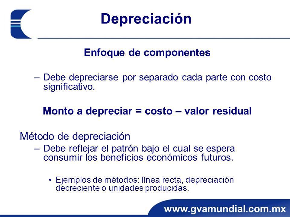 Enfoque de componentes Monto a depreciar = costo – valor residual