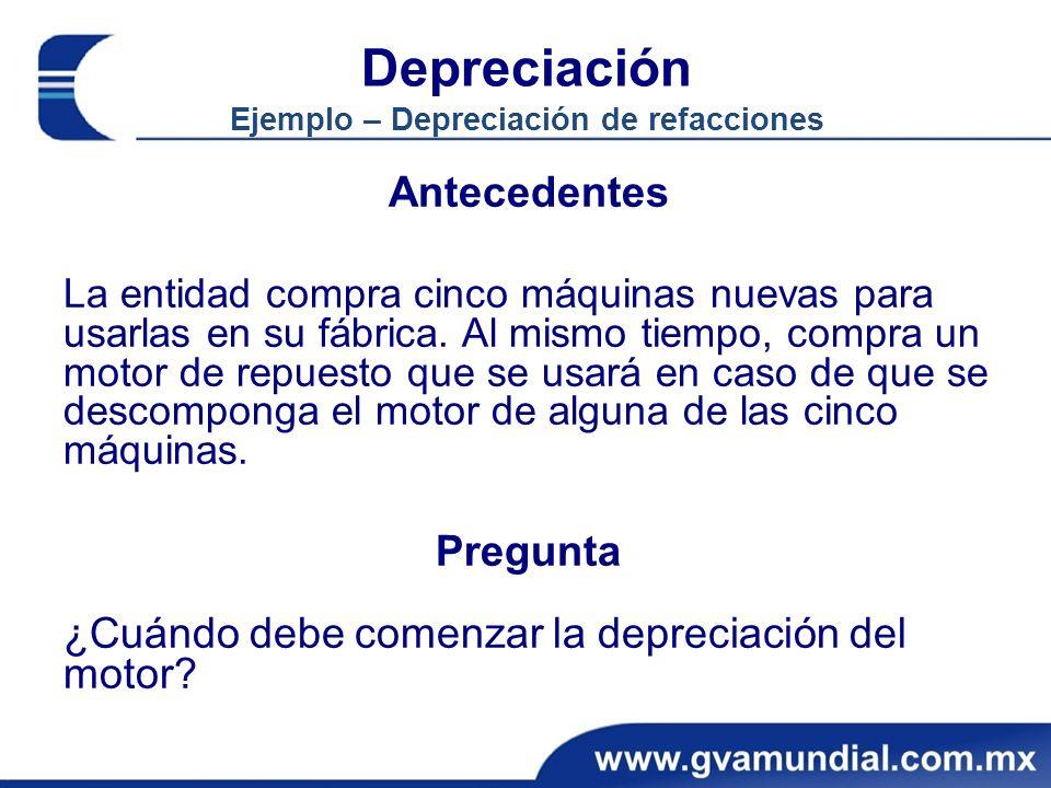 Depreciación Ejemplo – Depreciación de refacciones