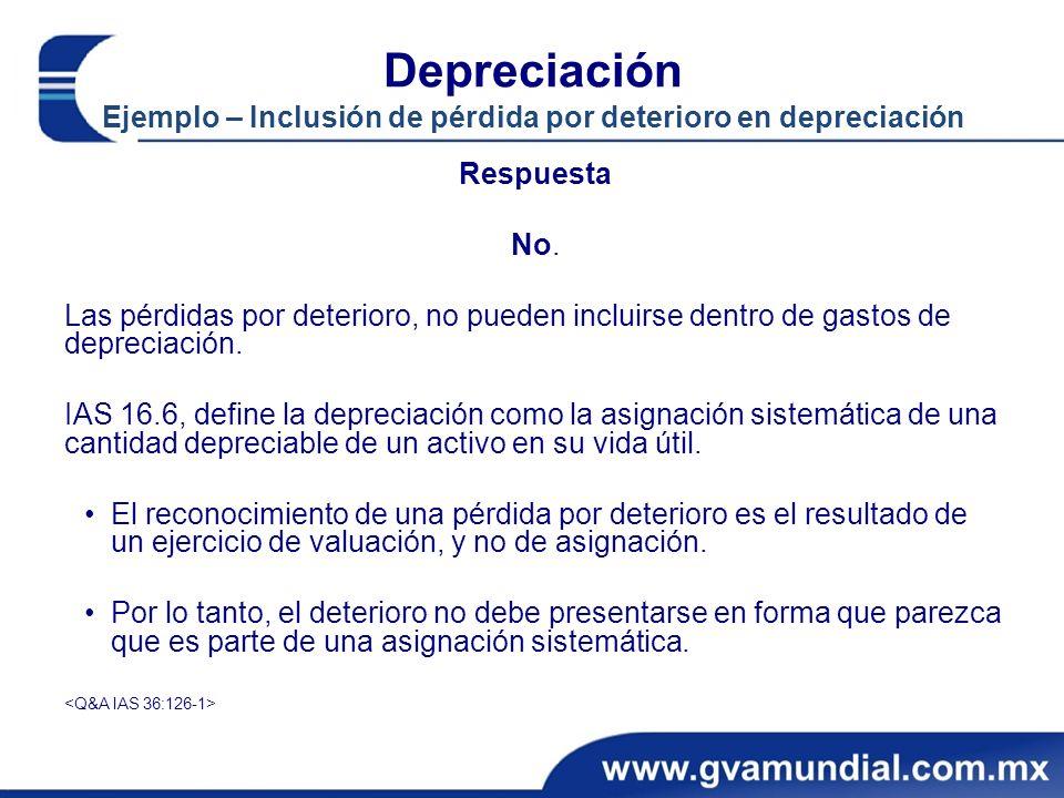 Depreciación Ejemplo – Inclusión de pérdida por deterioro en depreciación