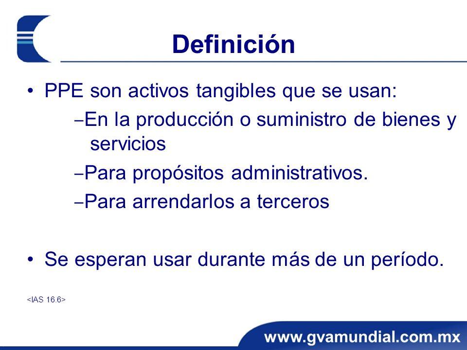 Definición PPE son activos tangibles que se usan: