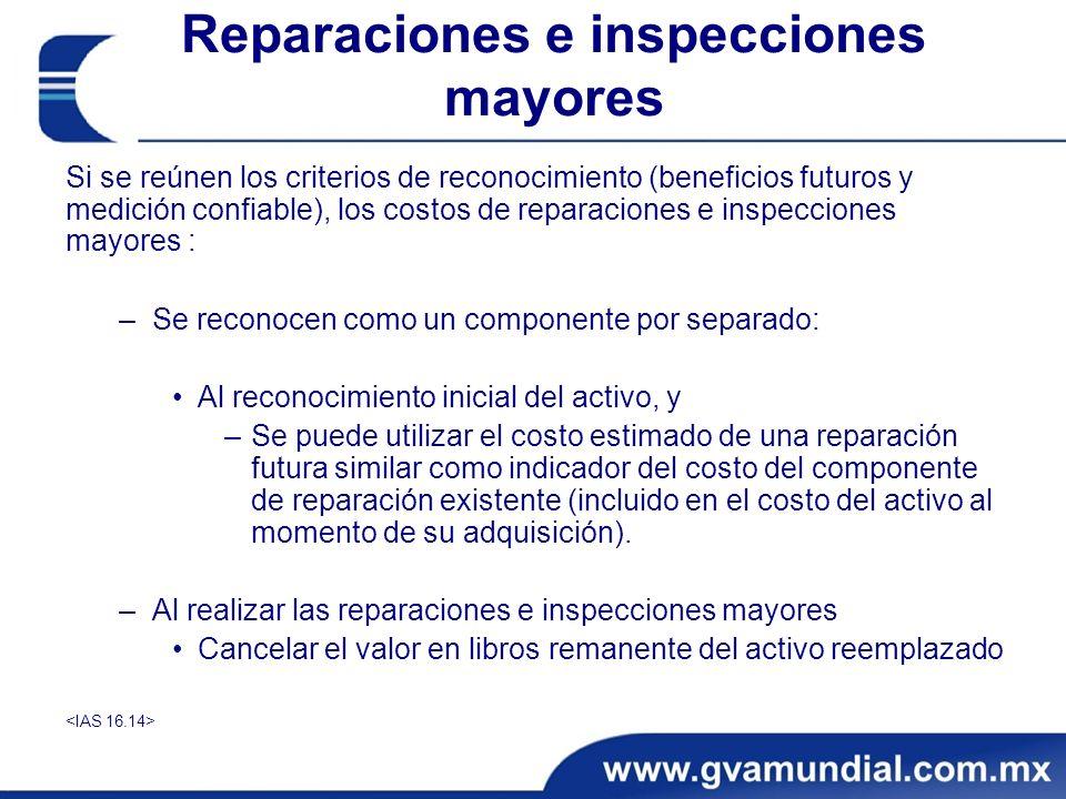 Reparaciones e inspecciones mayores