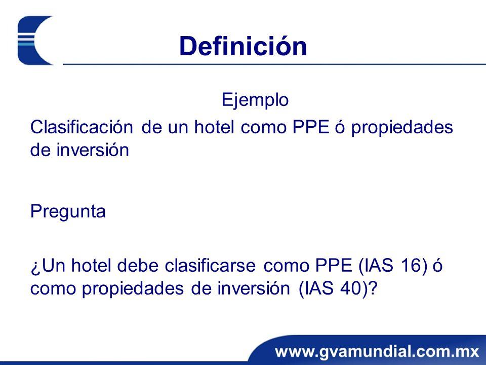 Definición Ejemplo. Clasificación de un hotel como PPE ó propiedades de inversión. Pregunta.