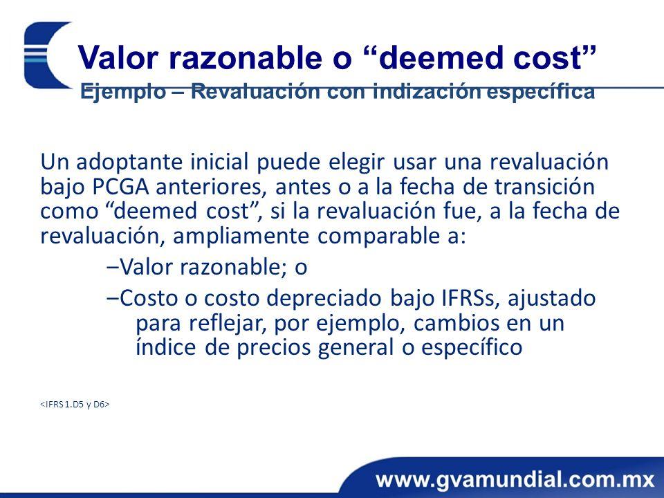 Valor razonable o deemed cost Ejemplo – Revaluación con indización específica