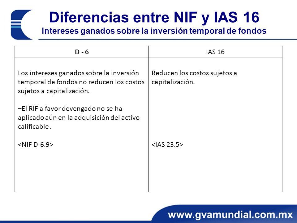 Diferencias entre NIF y IAS 16 Intereses ganados sobre la inversión temporal de fondos