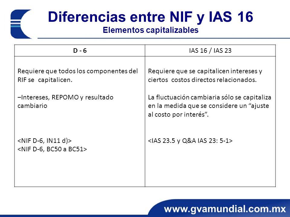 Diferencias entre NIF y IAS 16 Elementos capitalizables