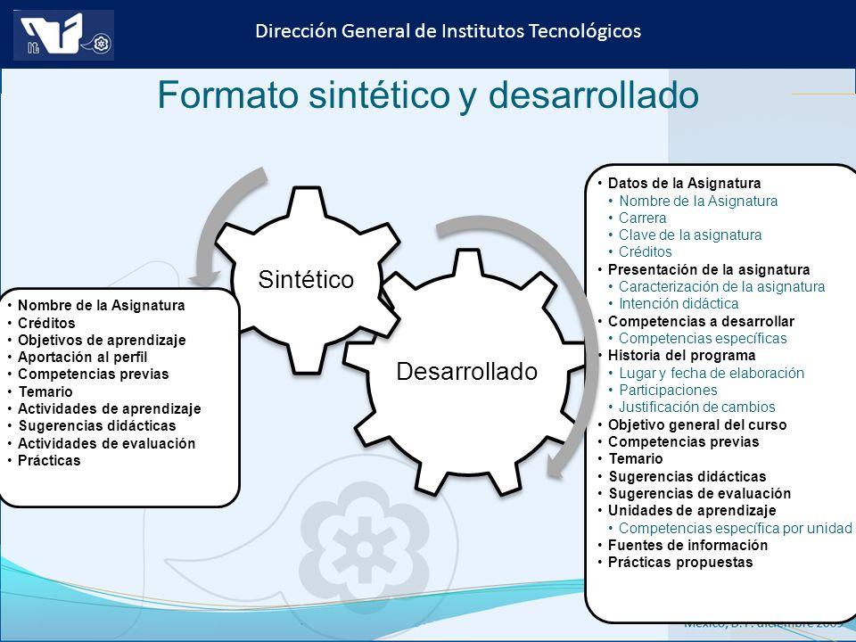 Formato sintético y desarrollado