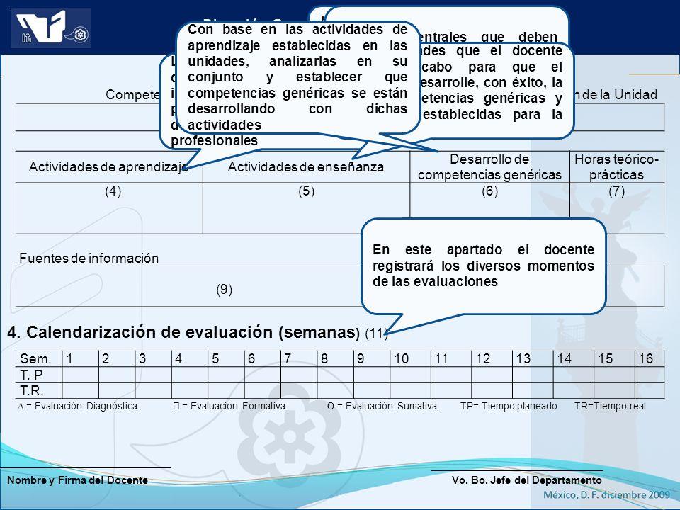 4. Calendarización de evaluación (semanas) (11)
