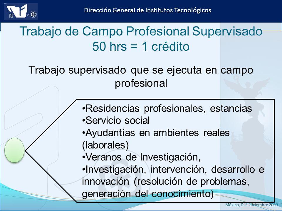 Trabajo de Campo Profesional Supervisado 50 hrs = 1 crédito