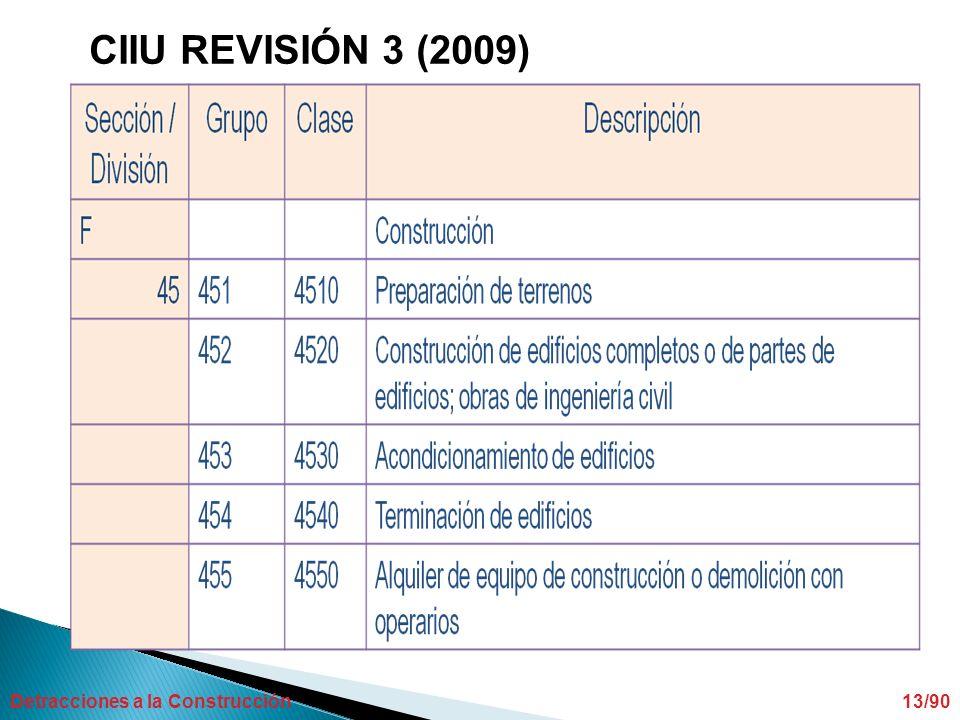 CIIU REVISIÓN 3 (2009) Detracciones a la Construcción 13/90