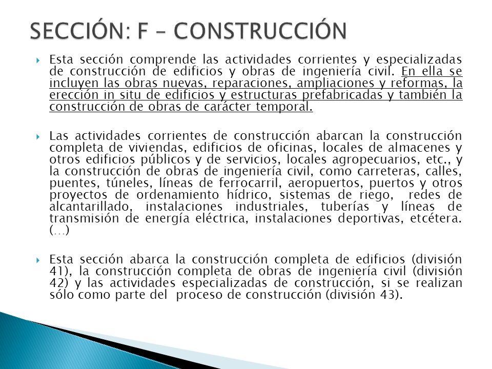 SECCIÓN: F – CONSTRUCCIÓN