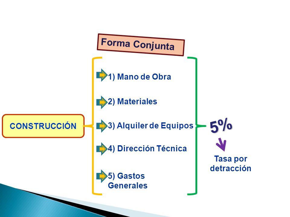 5% ELEMENTOS Forma Conjunta 1) Mano de Obra 2) Materiales CONSTRUCCIÓN
