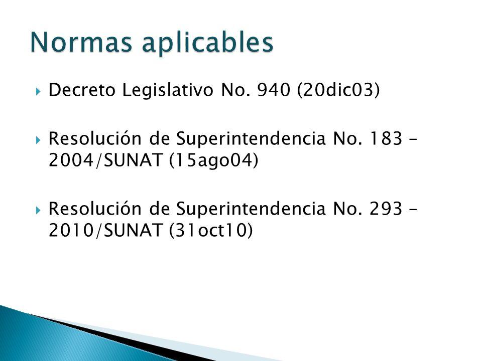 Normas aplicables Decreto Legislativo No. 940 (20dic03)