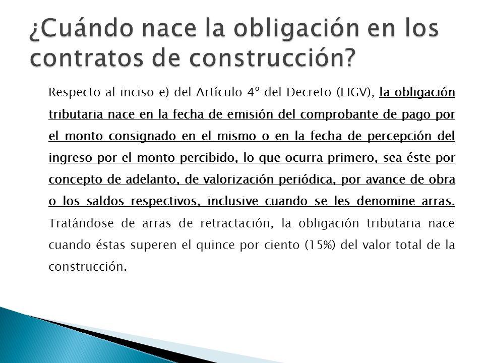 ¿Cuándo nace la obligación en los contratos de construcción