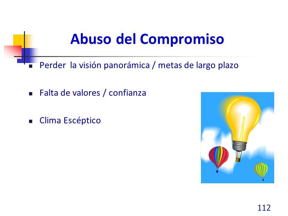 Abuso del Compromiso Perder la visión panorámica / metas de largo plazo. Falta de valores / confianza.