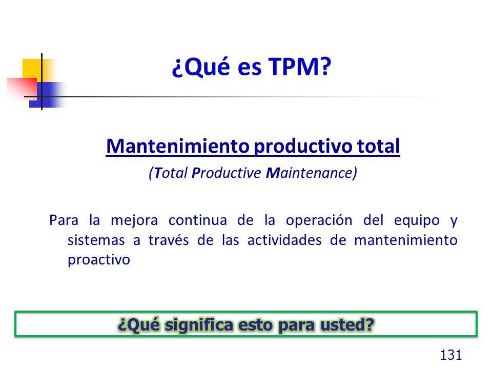 Mantenimiento productivo total ¿Qué significa esto para usted