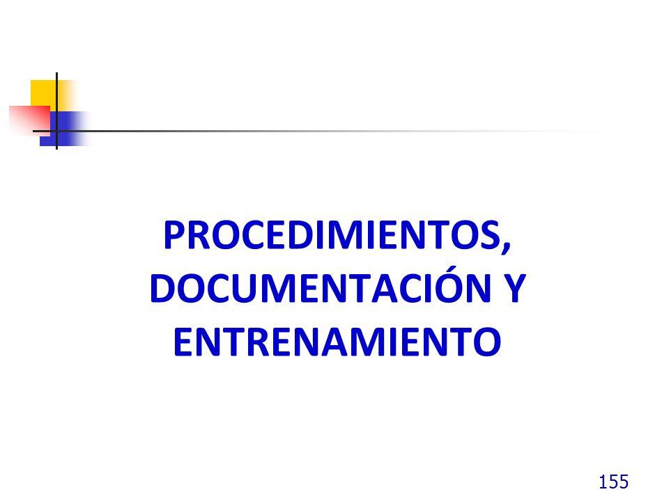 Procedimientos, documentación y entrenamiento