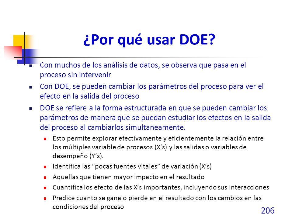 ¿Por qué usar DOE Con muchos de los análisis de datos, se observa que pasa en el proceso sin intervenir.