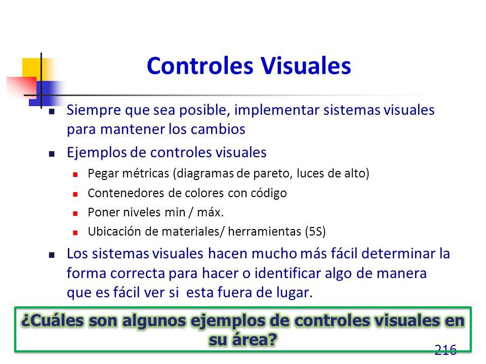 ¿Cuáles son algunos ejemplos de controles visuales en su área